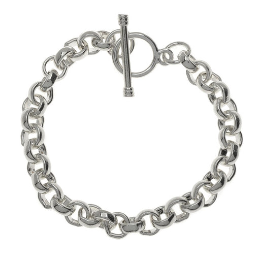 Nunn Design Charm Bracelet With Toggle Clasp, Rolo Links 2.5x7.5mm 7.5 Inch, Bright Silver