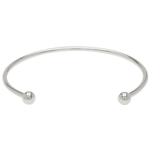 Silver Tone Medium Bangle Cuff Bracelet For European Style Large Hole Beads Screw End