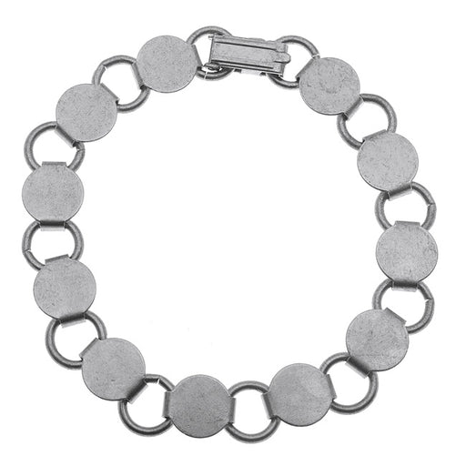 Antiqued Silver Tone Steel Bracelet With 9.5mm Round Flat Pads - 7.5 Inches
