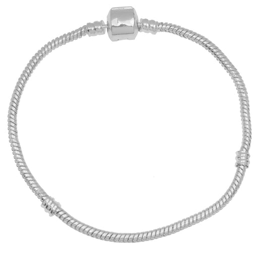 Silver Tone Threaded Snake Chain 8 Inch Bracelet With Snap Clasp For Large Hole Beads