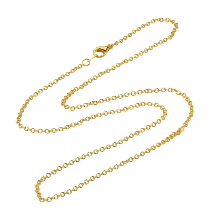 22K Gold Plated Fine Cable Chain Necklace with Lobster Clasp - 2x1.8mm Links 16 Inches Long