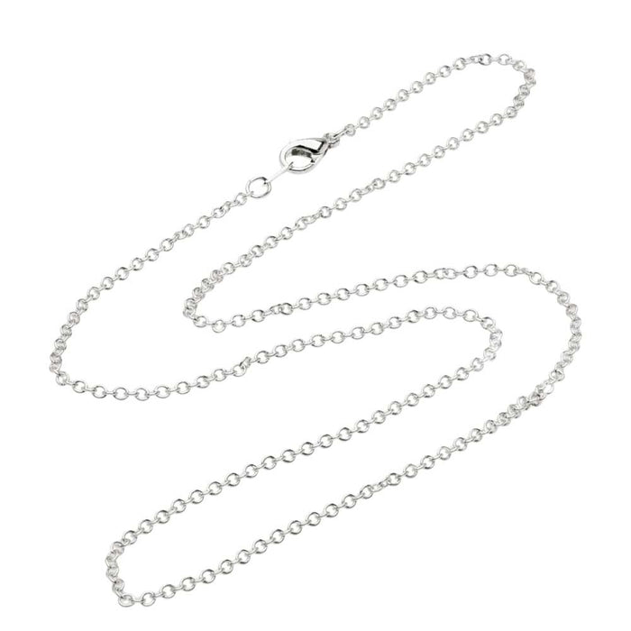 Silver Plated Fine Cable Chain Necklace with Lobster Clasp - 2x1.8mm Links 16 Inches Long