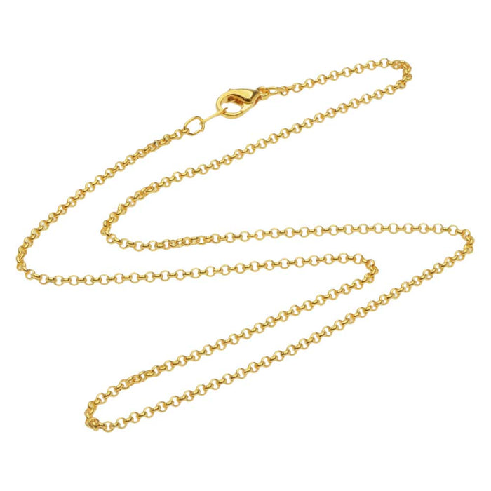 22K Gold Plated Fine Rolo Chain Necklace with Lobster Clasp - 2mm Diameter Links 18 Inches Long