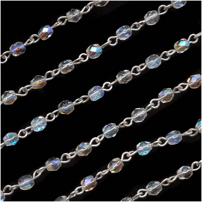 Czech Glass Beaded Chain, Crystal AB Fire Polish 4mm, Silver Plated, by the Inch