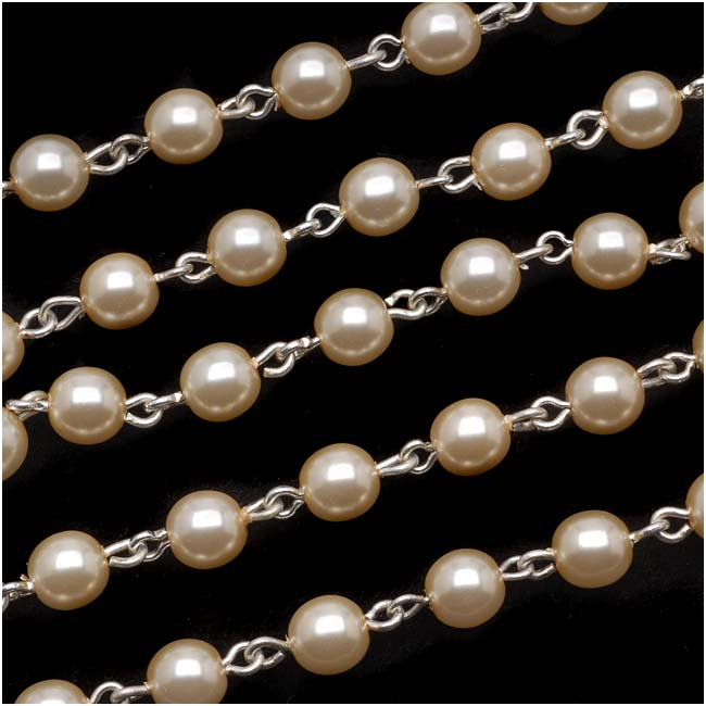 Czech Glass Beaded Chain, Cream Pearls 6mm, Silver Plated, by the Inch