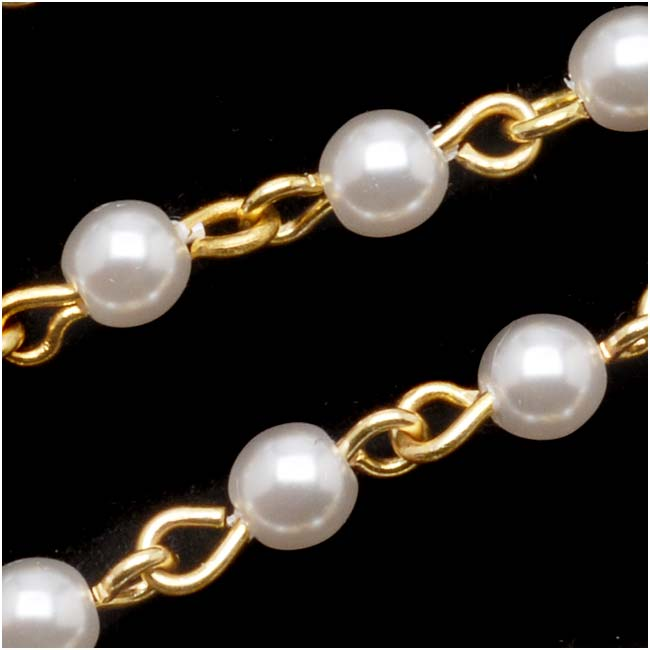 Czech Glass Beaded Chain, White Pearls 4mm, Gold Plated, by the Inch