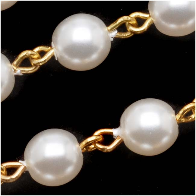 Czech Glass Beaded Chain, White Pearls 6mm, Gold Plated, by the Inch