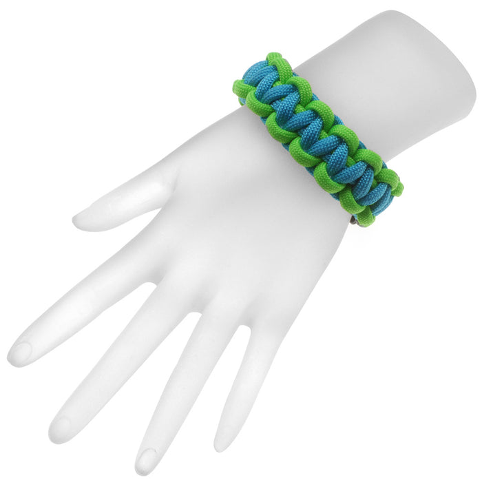 Retired - Basic 2 Color Paracord Bracelet - Green and Blue