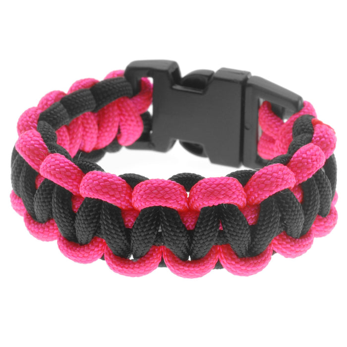 Retired - Basic 2 Color Paracord Bracelet - Pink and Black