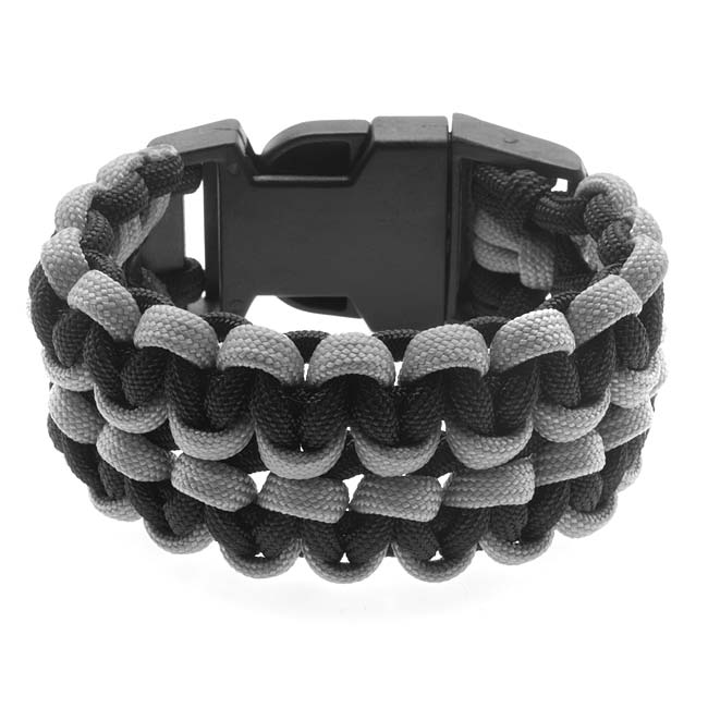 Retired - Wide Double Cobra Paracord Bracelet - Black and Grey