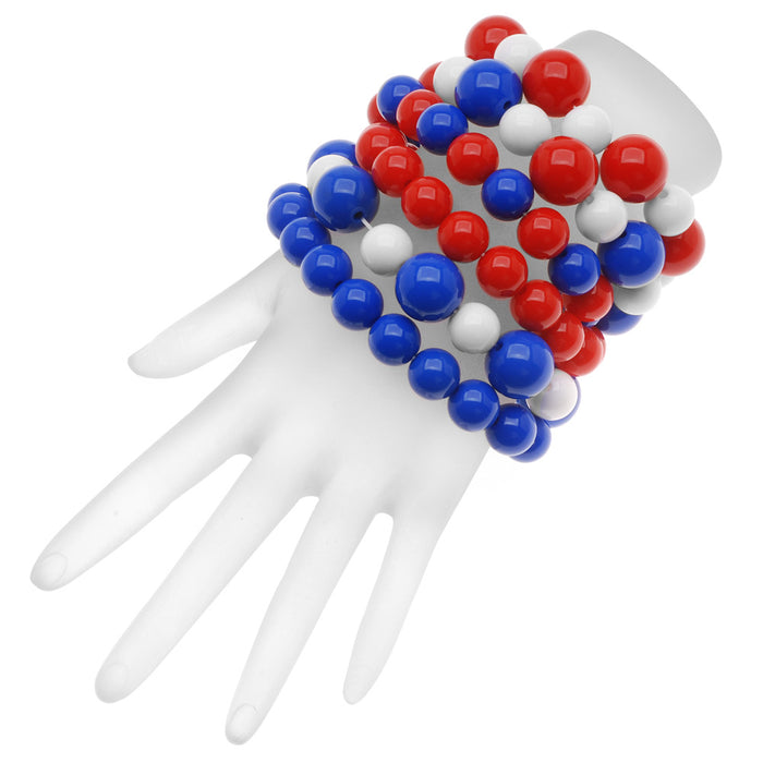 Retired - Patriotic Colors Gumball Stretch Bracelet Set
