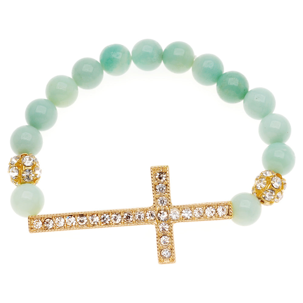 Retired - Amazonite and Crystal Cross Bracelet