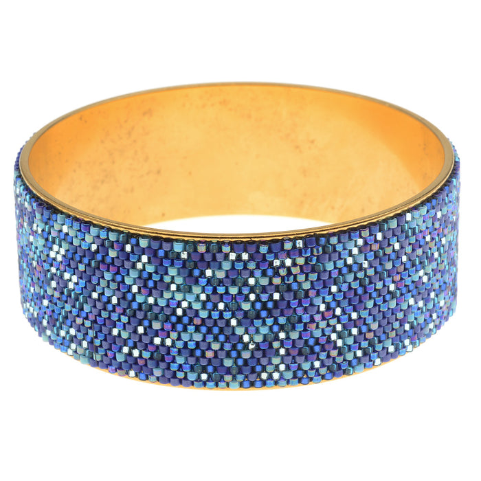 Wide Beaded Bangle in Blue Tones