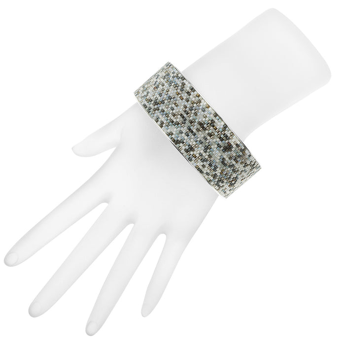 Wide Beaded Bangle in Tuxedo