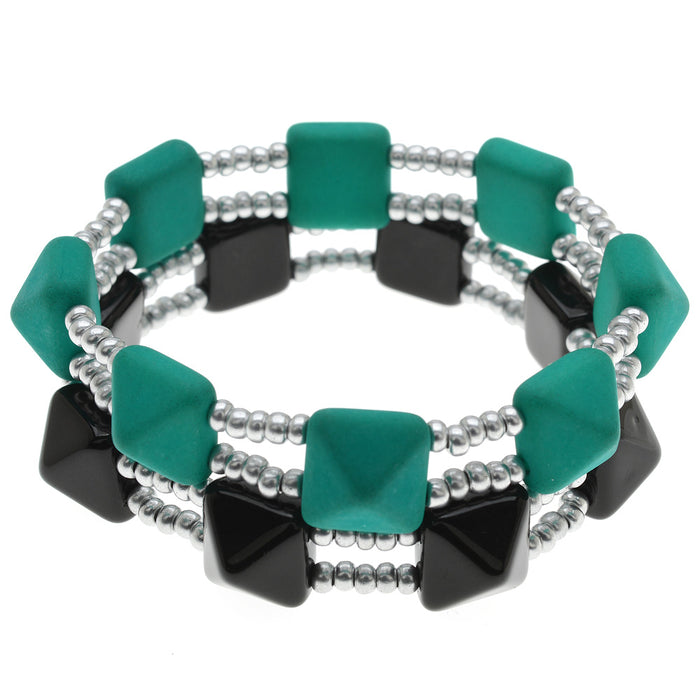 Retired - Pyramid Bead Stretch Bracelet Set
