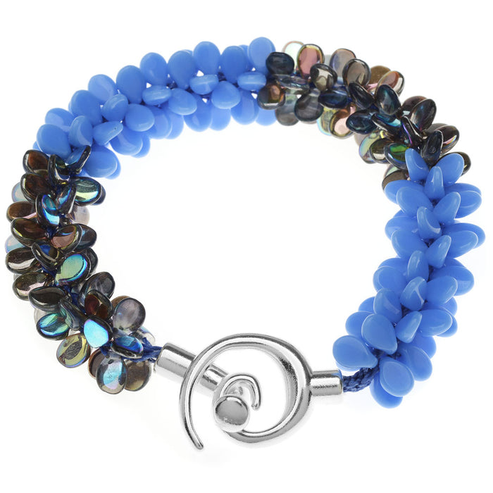 Retired - Blue Blooms Kumihimo Bracelet