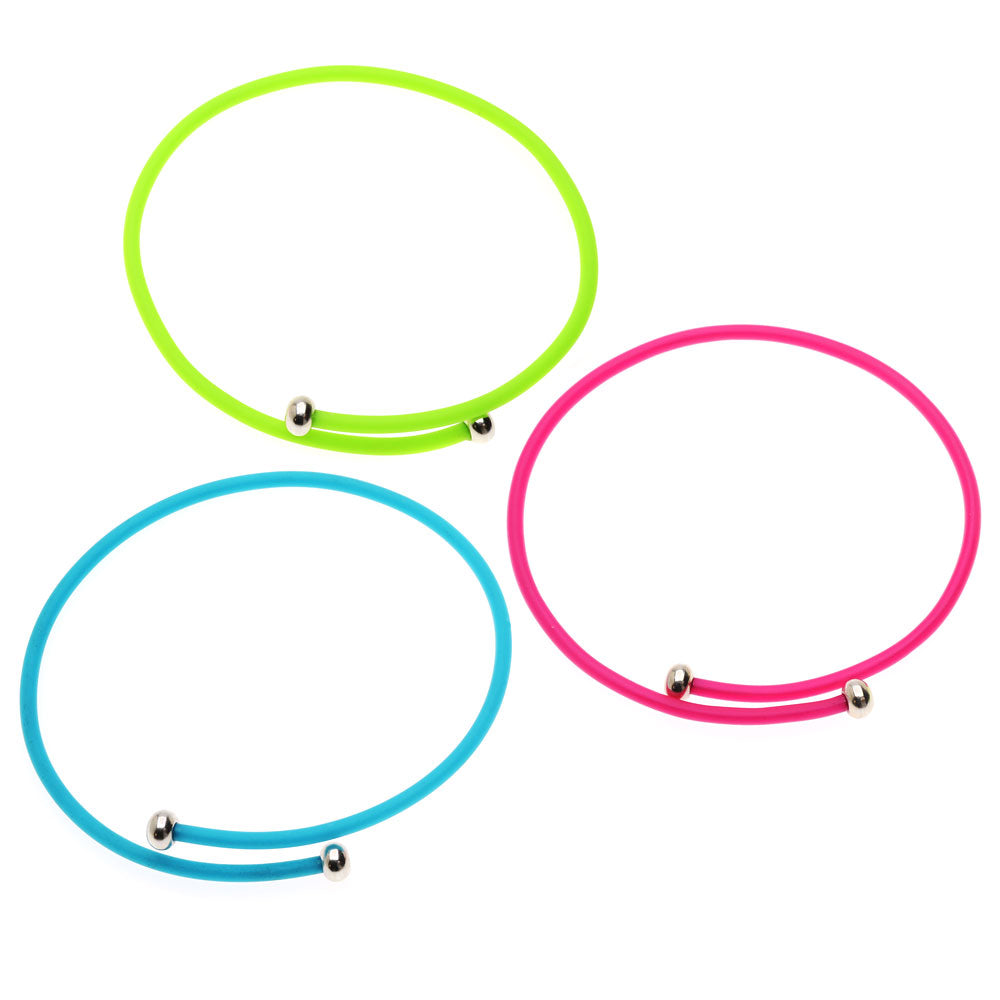 Retired - Single Wrap Neon Rubber Cord Bangle Set