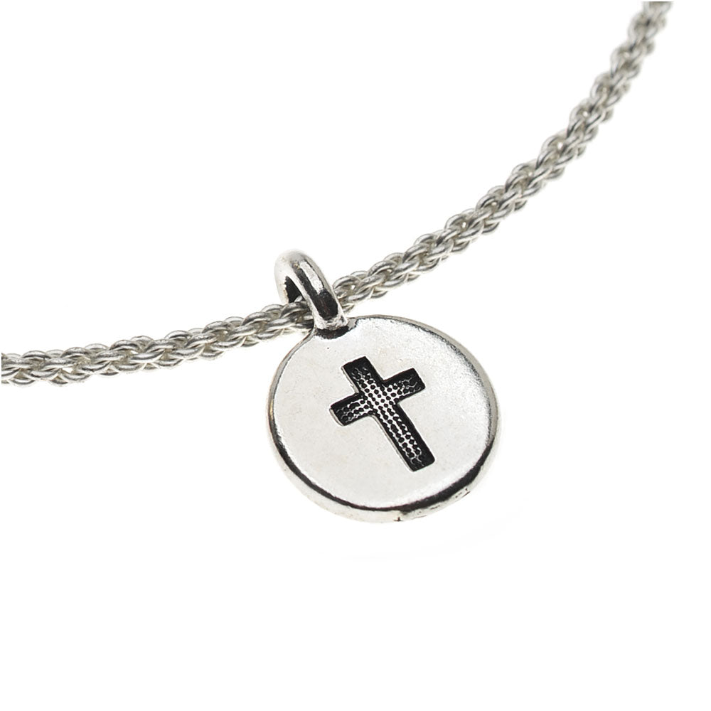Braided Wire Bangle Bracelet with Cross Charm