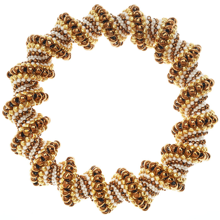 Toffee Swirl Cellini Spiral Beaded Bangle