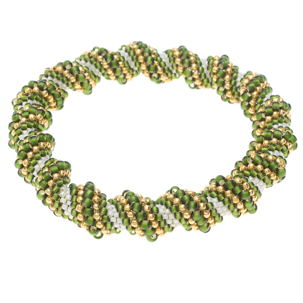 Green Apple Swirl Cellini Spiral Beaded Bangle
