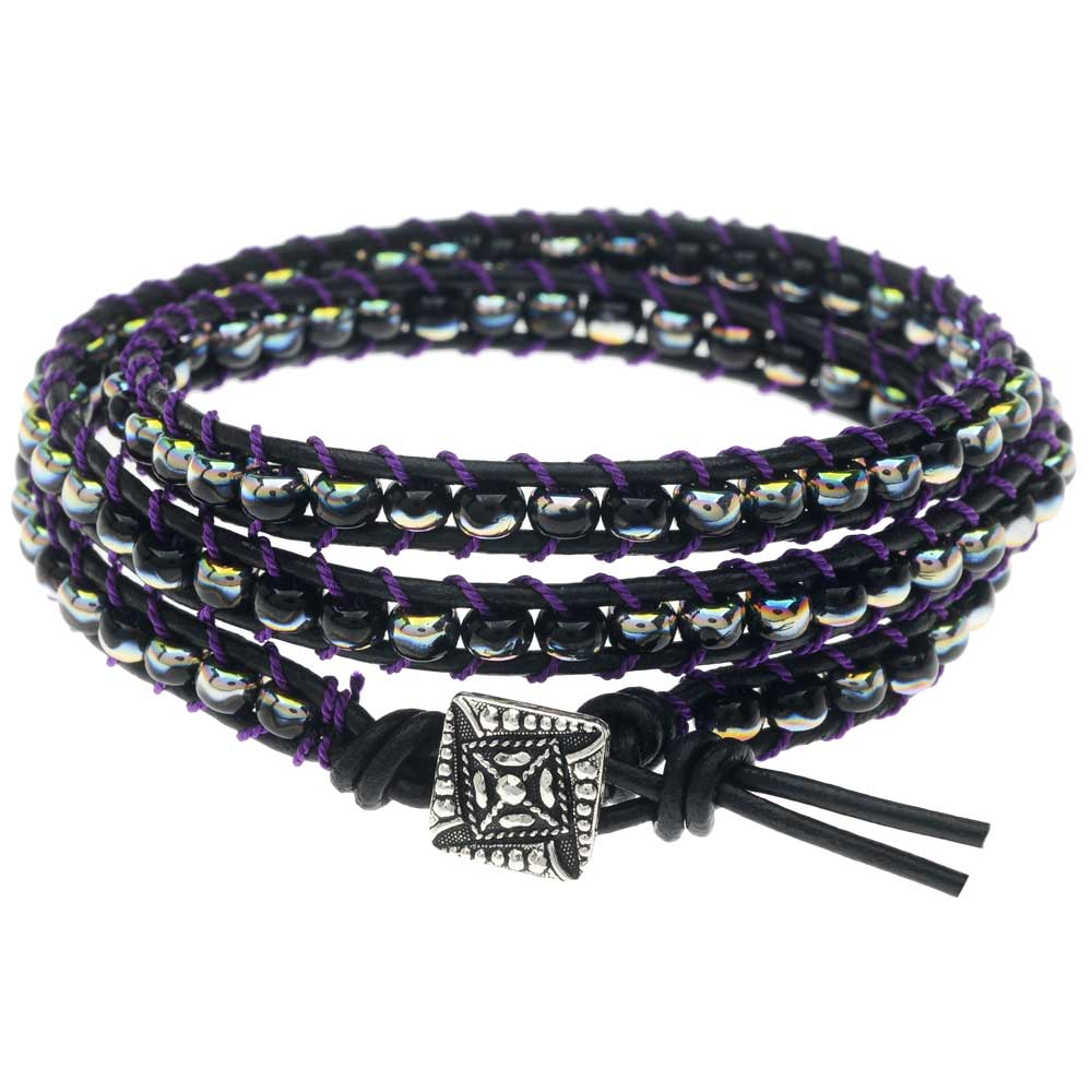 Black Leather Triple Wrapit Loom Bracelet