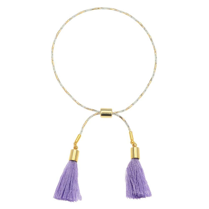 Lola Adjustable Tassel Bracelet in Purple and Gold
