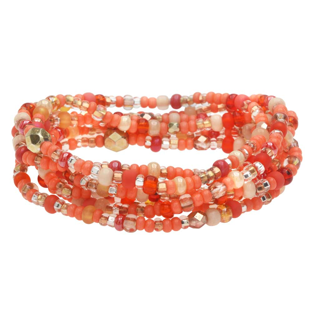 Stackable Seed Bead Bracelets in Coral