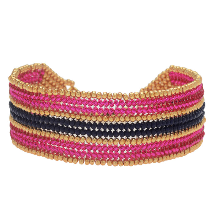 Raspberry Stripes Herringbone Bracelet