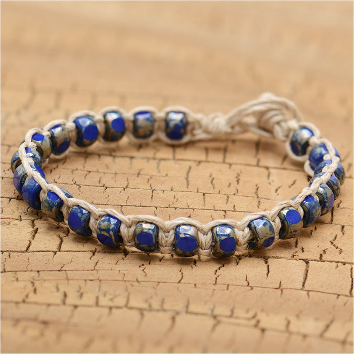 Earthly Blues Hemp Macrame Bracelet