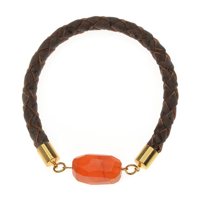 Faux Leather Gemstone Bangle