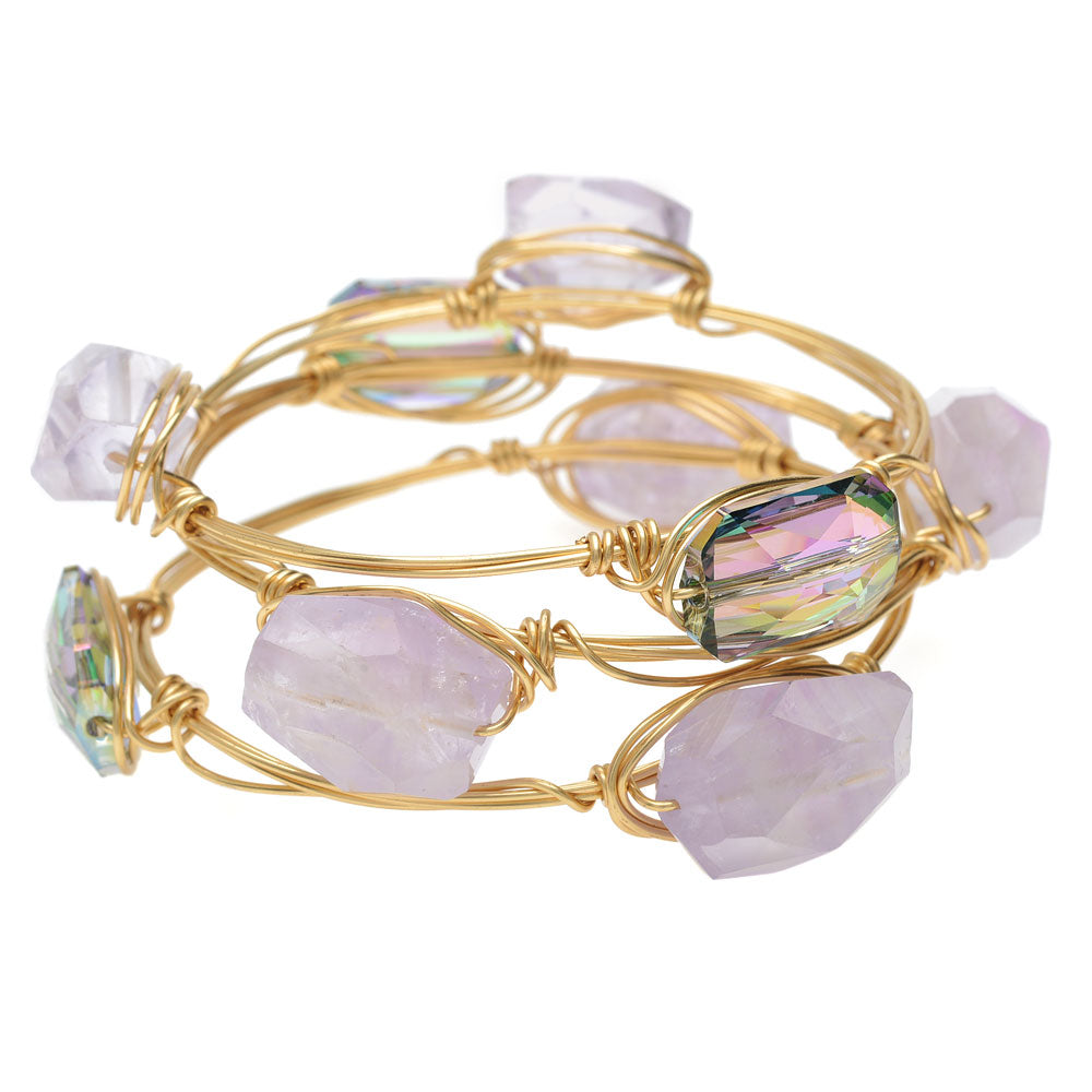 Retired - Amethyst Wire Wrapped Bangle Set