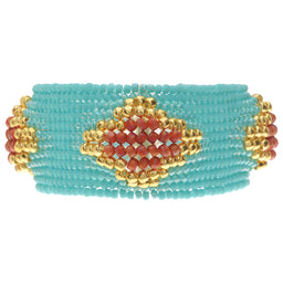 Herringbone Bubbles Bracelet in Turquoise and Coral