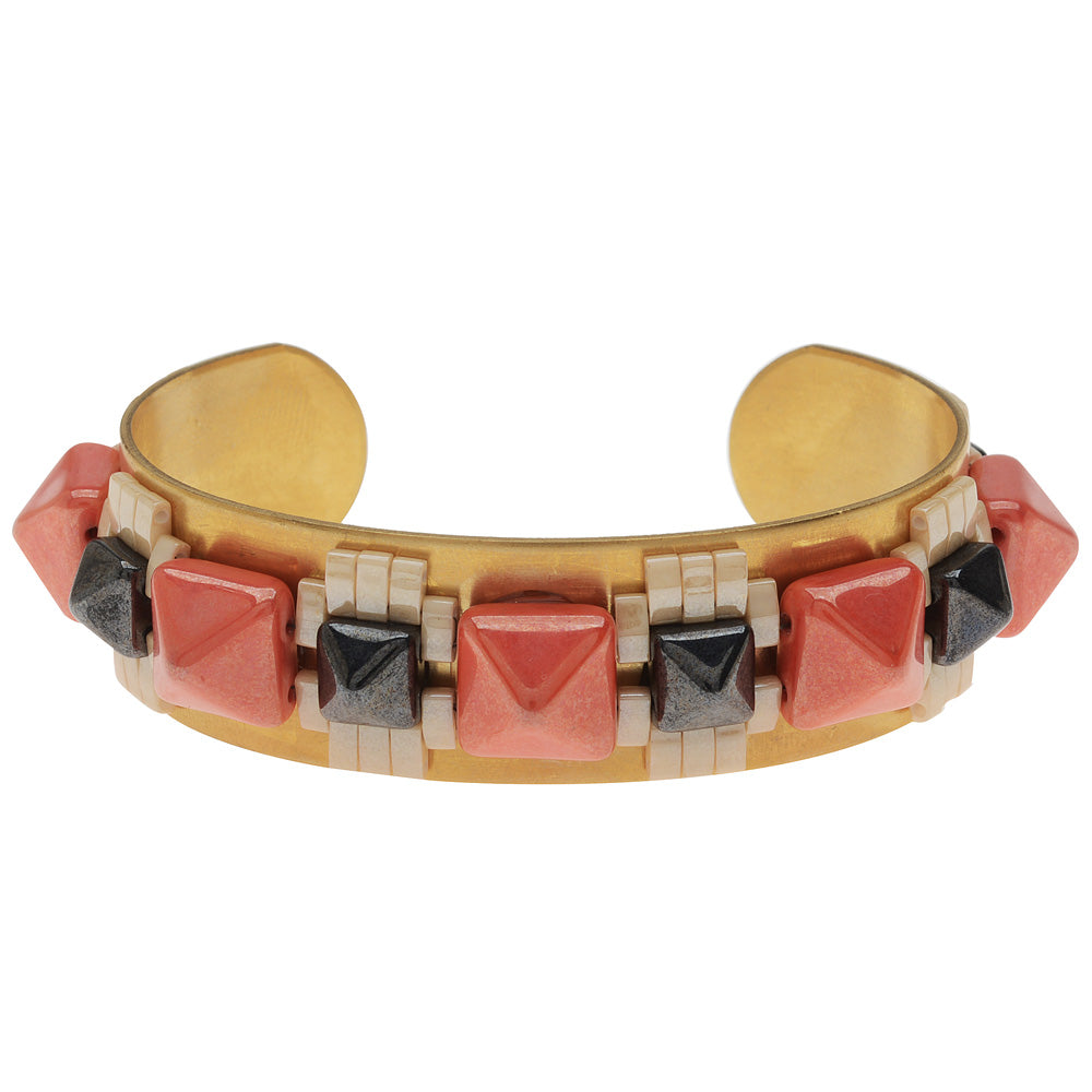 Retired - Mayan Revival Cuff in Coral and Hematite