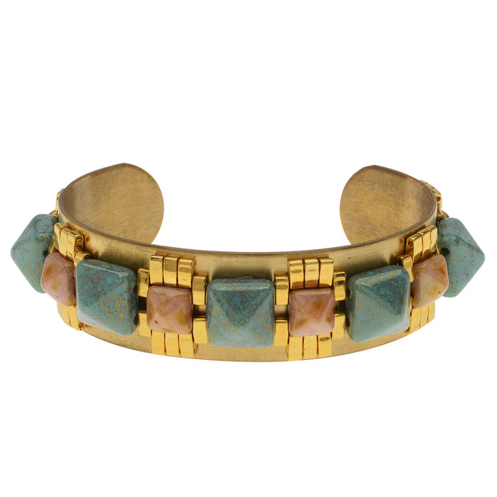 Mayan Revival Cuff in Turquoise and Pink Luster