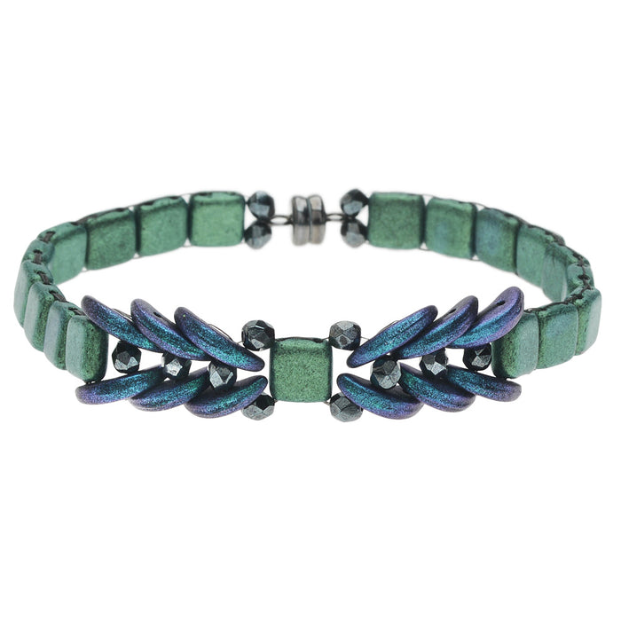 Ophelia Bracelet in Metallic Green Suede