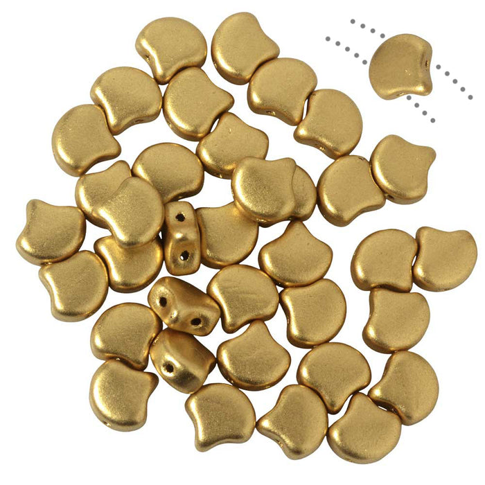 Czech Glass, 2-Hole Ginko Beads 7.5mm, 10 Grams, Crystal Bronze Pale Gold