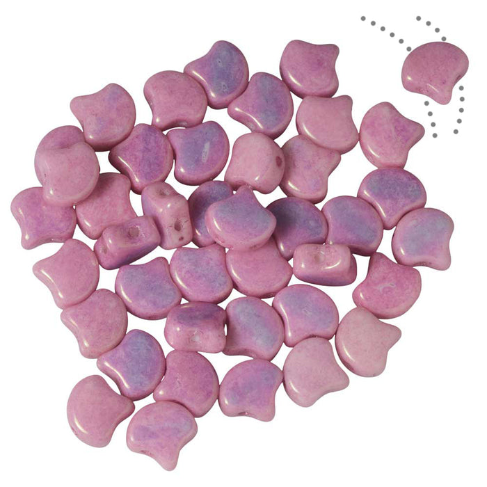 Czech Glass, 2-Hole Ginko Beads 7.5mm, 10 Grams, Chalk Lilac Luster