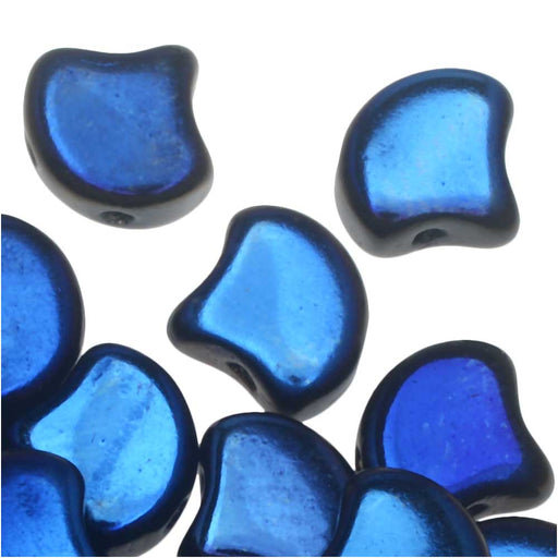 Czech Glass, 2-Hole Ginko Beads 7.5mm, 10 Grams, Jet Azuro