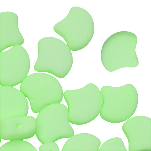 Czech Glass, 2-Hole Ginko Beads 7.5mm, 10 Grams, Bondeli Matte Lime