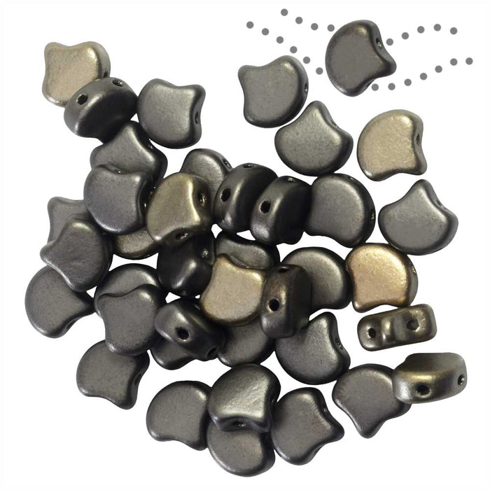Czech Glass, 2-Hole Ginko Beads 7.5mm, 10 Grams, Crystal Grey Rainbow