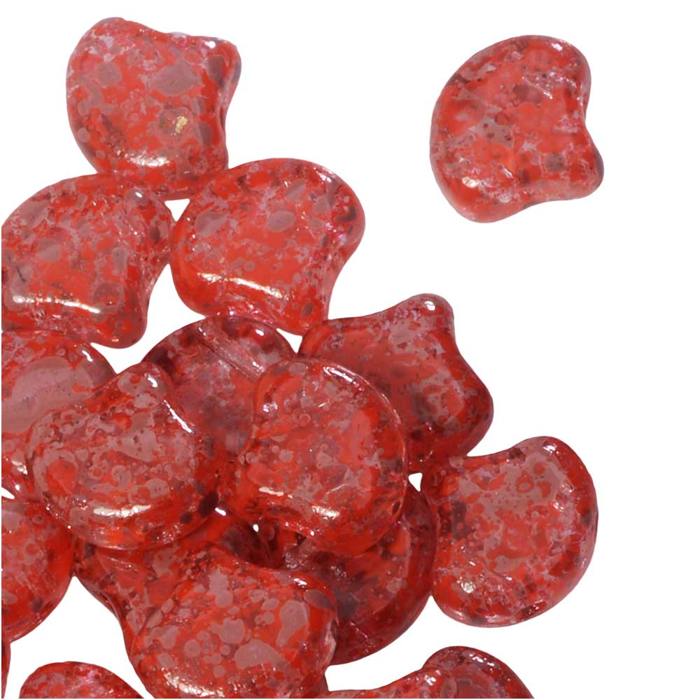 Czech Glass, 2-Hole Ginko Beads 7.5mm, 10 Grams, Confetti Splash Red Pink