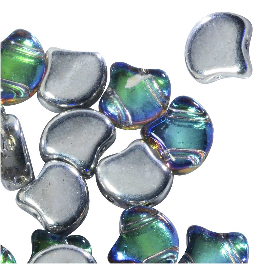 Czech Glass, 2-Hole Ginko Beads 7.5mm, 10 Grams, Backlit Petroleum