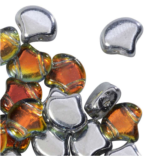 Czech Glass, 2-Hole Ginko Beads 7.5mm, 10 Grams, Backlit Tequila