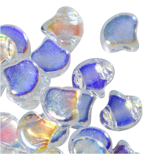 Czech Glass, 2-Hole Ginko Beads 7.5mm, 10 Grams, Crystal AB