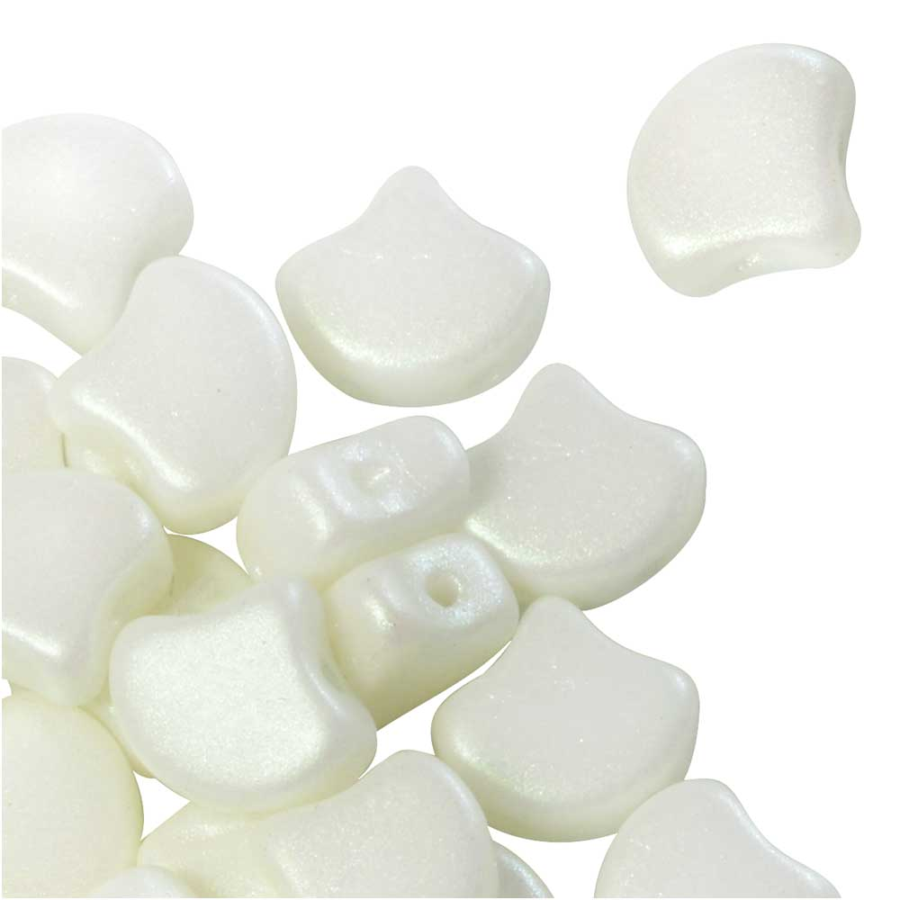 Czech Glass, 2-Hole Ginko Beads 7.5mm, 10 Grams, Shimmer White