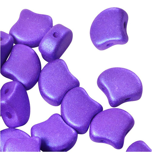 Czech Glass, 2-Hole Ginko Beads 7.5mm, 10 Grams, Shimmer Eggplant