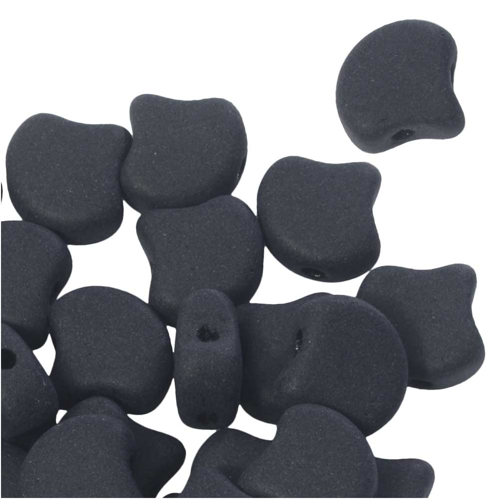 Czech Glass, 2-Hole Ginko Beads 7.5mm, 10 Grams, Jet Matte