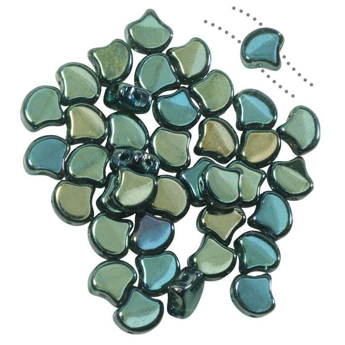 Czech Glass, 2-Hole Ginko Beads 7.5mm, 10 Grams, Aqua Celsian