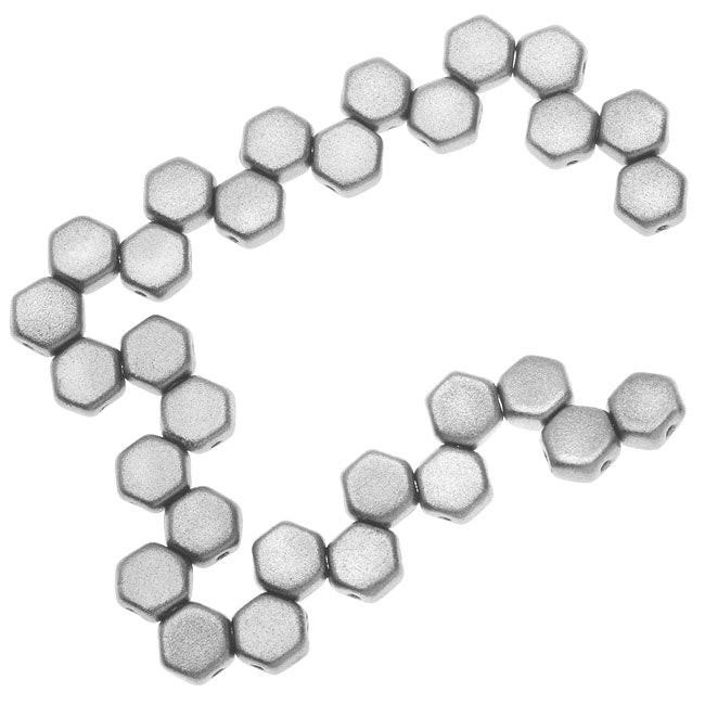 Czech Glass Honeycomb Beads, 2-Hole Hexagon 6mm, 30 Pieces, Crystal Bronze Aluminum