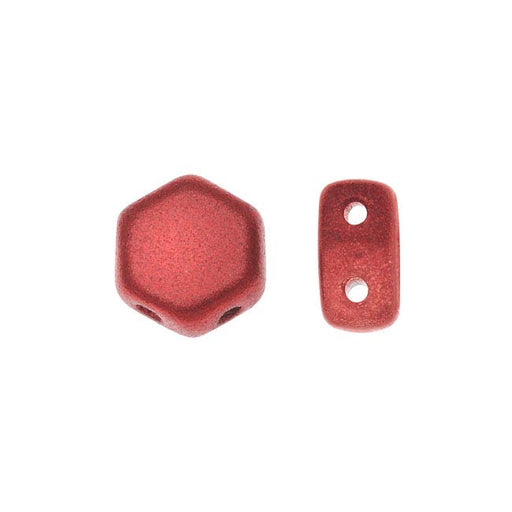 Czech Glass Honeycomb Beads, 2-Hole Hexagon 6mm, 30 Pieces, Chalk Lava Red